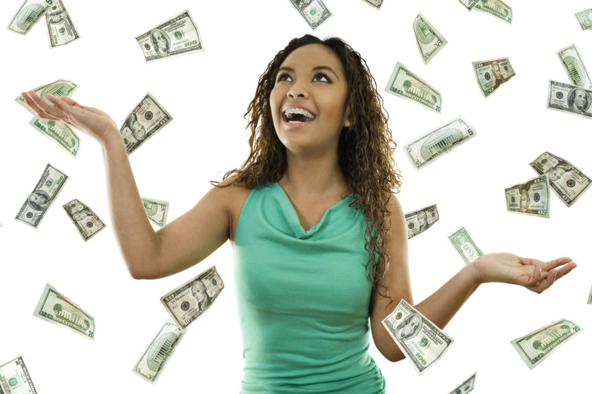 Image of woman with raining money for How to make $10k a month